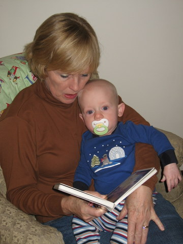 Reading bedtime books with Grandma