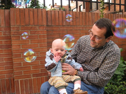Jackson experiencing bubbles for the first time…he was very cautious!