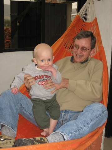 Swinging with Grandan in the hammock in our room