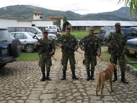 "Colombian guards ""guarding our car""…they were at the hotel for a special event but hung around our car once they saw the Dip plates"